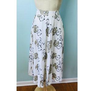 Vtg 90s Women's Rayon Skirt Cream Brown